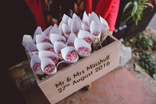 Personalised Engraved Wooden Box Flower Girl Confetti Cones Baby Shower Box