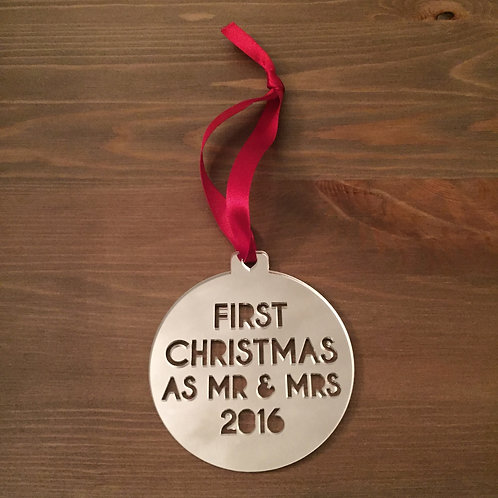 Laser Cut Baby's First Christmas 2016 Mirrored Acrylic Bauble (Image Coming Soon