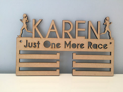 3 Tier Personalised Wooden Laser Cut Medal Holder With Name & Engrav