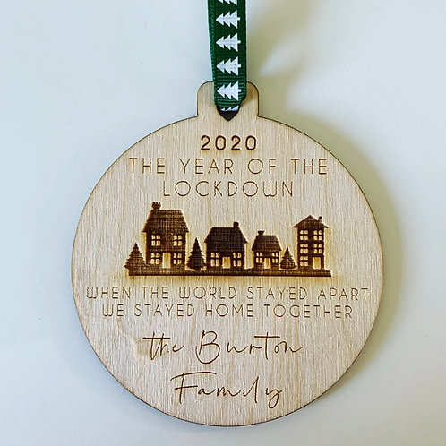 Lockdown 2020 Engraved Birch Ply Bauble With Optional Personalisation