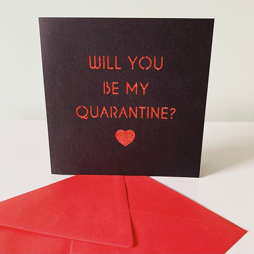 Black & Red Glitter Quarantine Valentine's Day Card