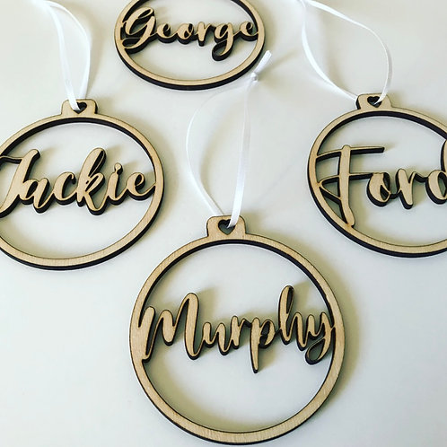 Personalised Laser Cut Birch Ply Script Name Bauble