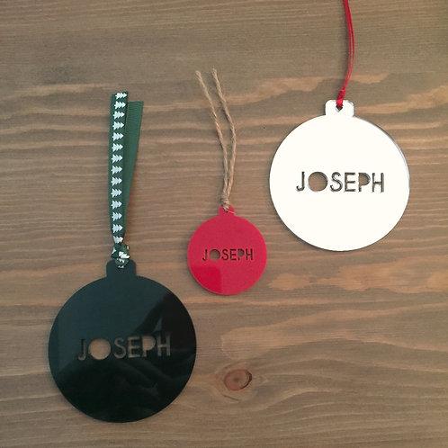 Laser Cut Plain Acrylic Personalised Name Christmas Bauble Decoration
