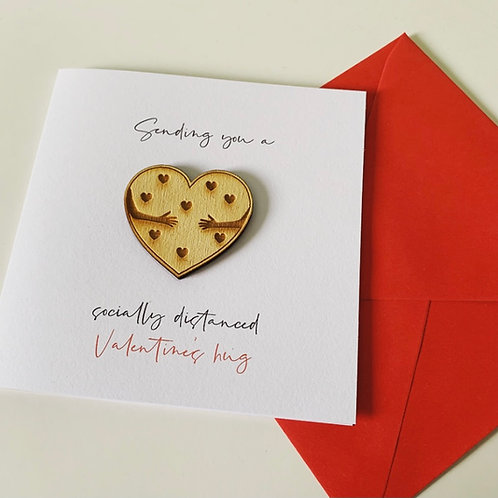 Socially Distanced Hug Engraved Plywood Heart Topper Valentine's Day Card