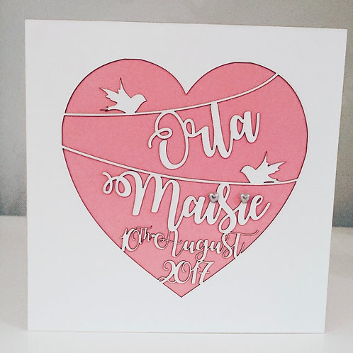 Personalised Laser Cut New Baby Card With Personalised Details