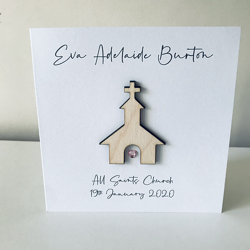 Personalised Christening Card Birch Ply 3D Church Topper Card With Personalised