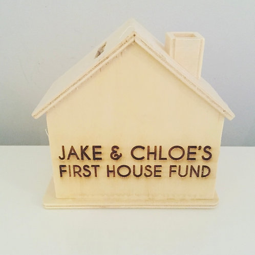 Personalised Engraved Wooden House Money Box Ideal For First Time Buyers