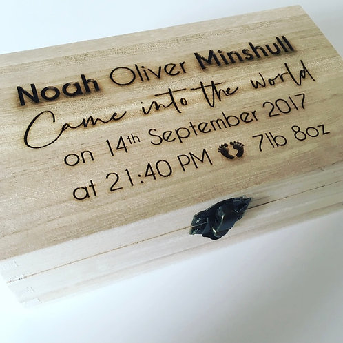 Small Personalised Engraved Wooden New Baby Keepsake Box