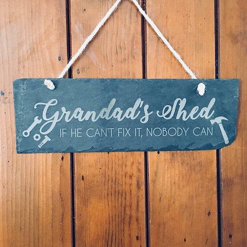 Slate Grandad's Shed Sign