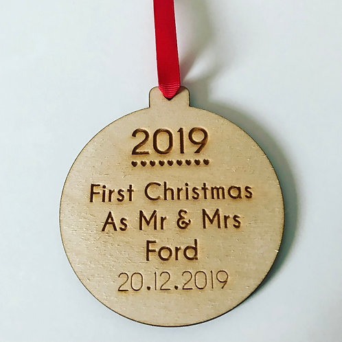 Engraved Personalised First Christmas Wedding Birch Ply Bauble