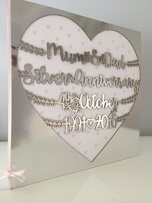 Personalised Laser Cut Keepsake Special Anniversary Card Large