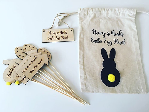 Personalised Wooden Egg Hunt Sign Set In Bag