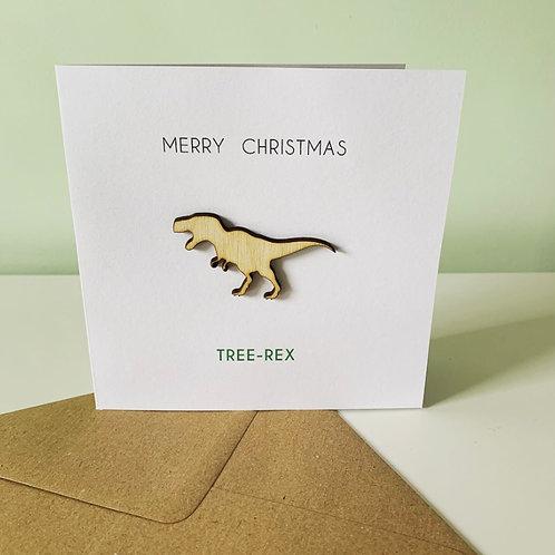 Tree Rex Dinosaur Ply Topper Christmas Card