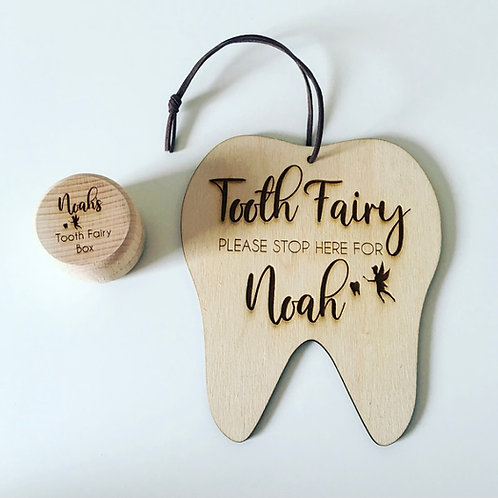 Tooth Fairy Set Wooden Pot & Door Sign Engraved With Personalised Name