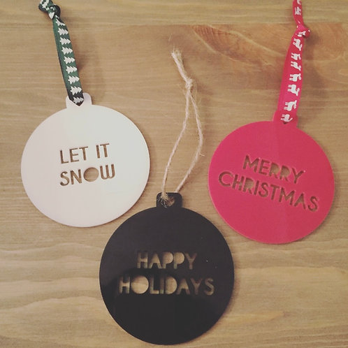 3 Pack Of Laser Cut Plain Acrylic Christmas Text Bauble Decoration
