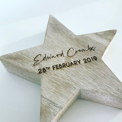 Washed Effect Wooden Engraved Star Personalised Keepsake Decoration