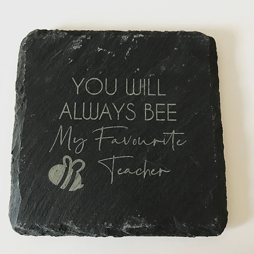 Bee Teacher Nursery Assistant Thank You Gift Square Slate Drink Coaster