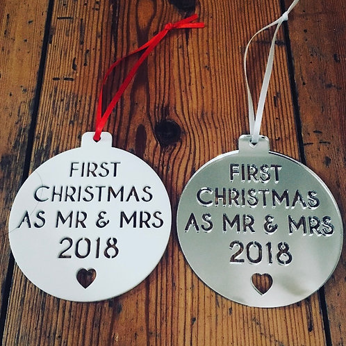 Laser Cut First Christmas Wedding Acrylic Bauble