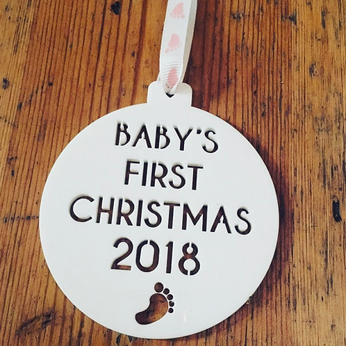 Laser Cut Baby's First Christmas Perspex Bauble