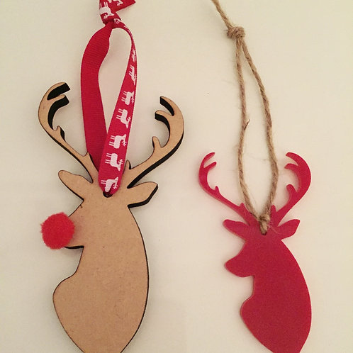 2 Pack Of Laser Cut Reindeer Christmas Decorations Wooden Acrylic Pom Pom