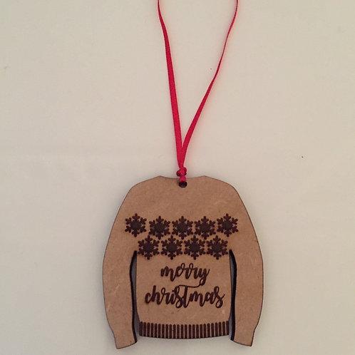 Laser Cut & Engraved Wooden Christmas Jumper Decoration