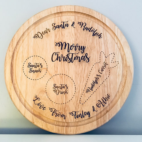 Personalised Engraved Santa & Rudolph Christmas Eve Board