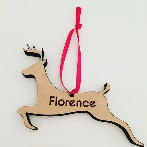 Laser Cut & Engraved Personalised Wooden Reindeer Christmas Decoration