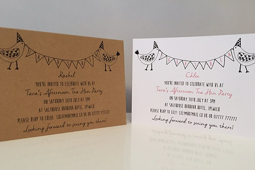 Pack Of 10 Personalised Vintage Style Hen Party Invitation Postcard A6