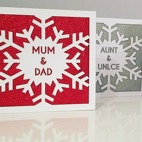 Laser Cut Personalised Sparkly Snowflake Christmas Card