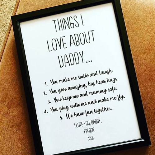 Monochrome Personalised Things I Love About Typographic Print Framed Or Unframed