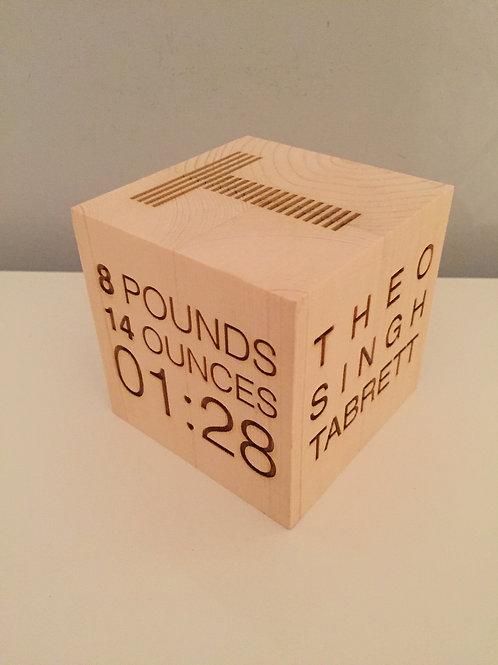 Personalised Engraved Wooden New Baby Keepsake Birth Block