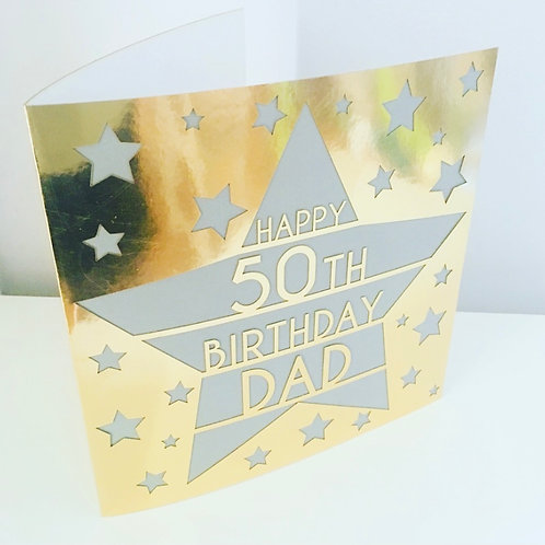 Large 20 cm Laser Cut Star Personalised Birthday Card Choice of Colours