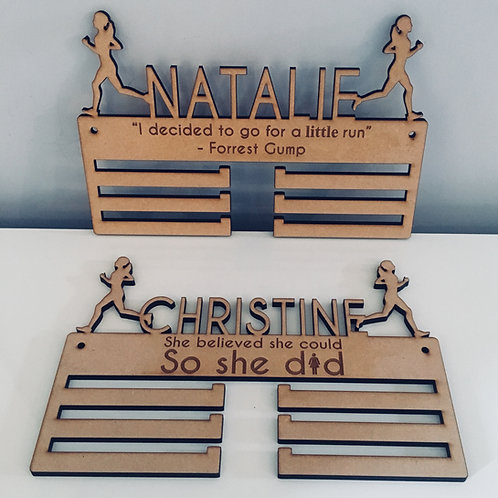 Personalised Laser Cut Medal Holder With Name & Quote