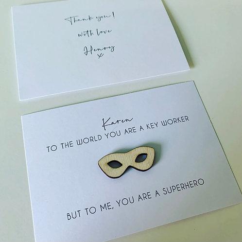 Teacher Nursery Key Worker Superhero Personalised Thank You Card