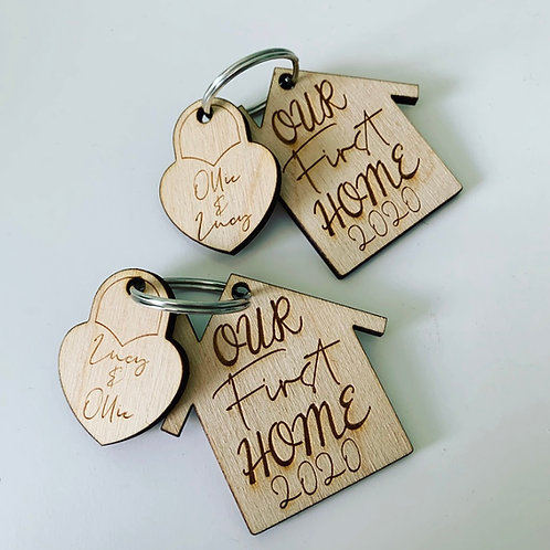 Personalised Engraved Birch Ply Couple First Home Keyring
