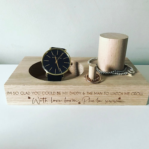 Engraved Personalised Watch Jewellery Stand Bedside Tidy Dressing Table Display