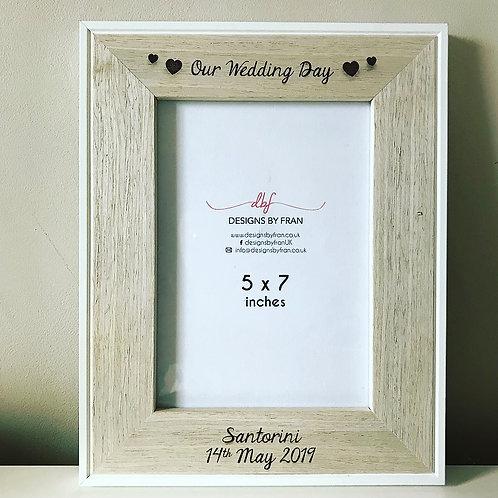 Personalised Engraved Wedding Day Veneer Photo Frame