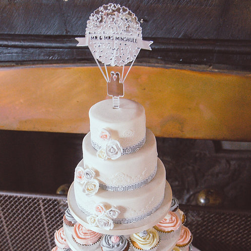 Mirrored Acrylic Laser Cut Personalised Heart Balloon Wedding Cake Topper