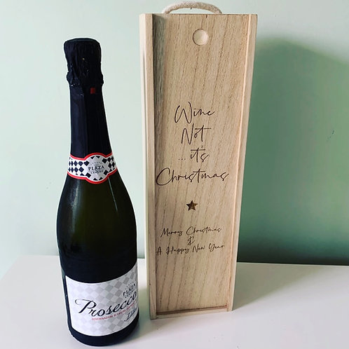 Wine Not It's Christmas Engraved Wooden Gift Box Storage Box