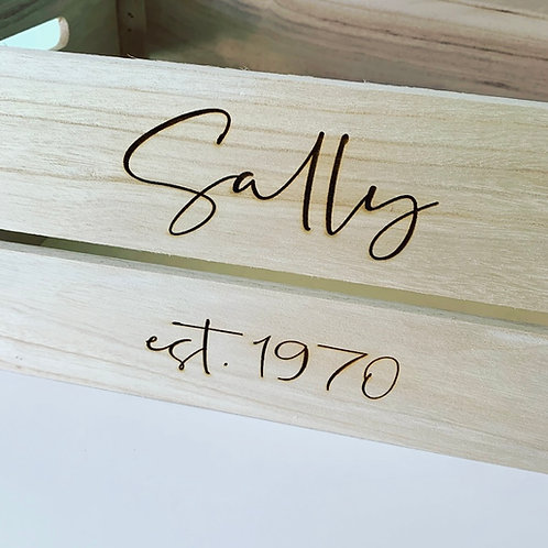 Personalised Large Wooden Apple Crate Storage (Things beginning with box)