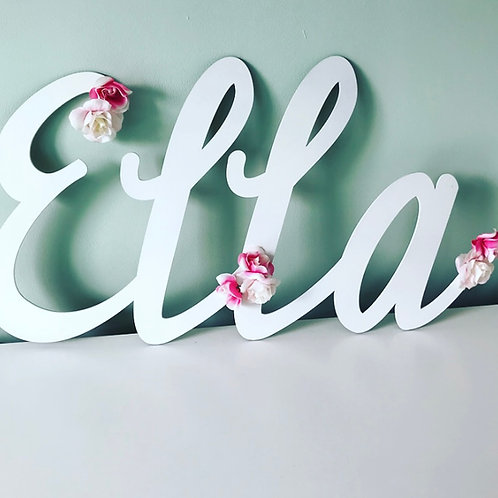Floral Personalised Name Large Wall Sign In Choice of Colours
