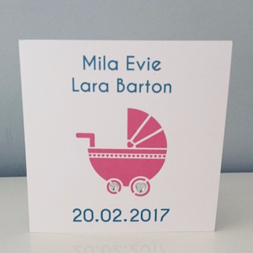 Personalised Printed Pram Design New Baby Card In Pink Or Blue