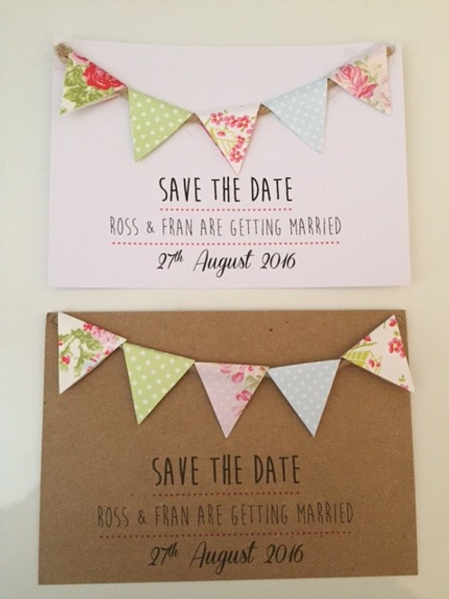Pack Of 10 Vintage Shabby Chic Bunting Save The Date Postcard