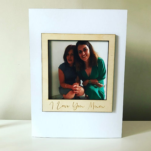 Photo Frame Birch Ply 3D Card With Personalised Text