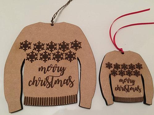 Large Laser Cut & Engraved Wooden Christmas Jumper Decoration 13 X 13 cm