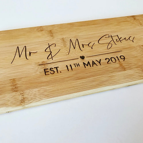 Couple's Wedding Day Engraved Chopping Board Personalised With Their Name & Date