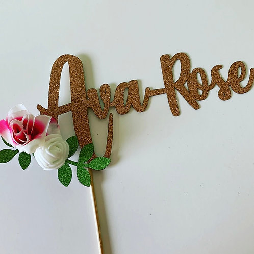 Personalised Rose Gold Floral Name Laser Cut Cake Topper
