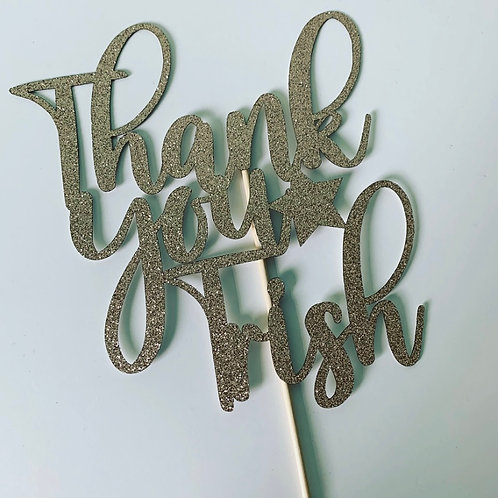 Thank You Flower Bouquet Topper Personalised Typographic Design Glitter Rose Gol