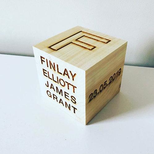 Personalised Engraved Wooden New Baby Keepsake Birth Block Cube