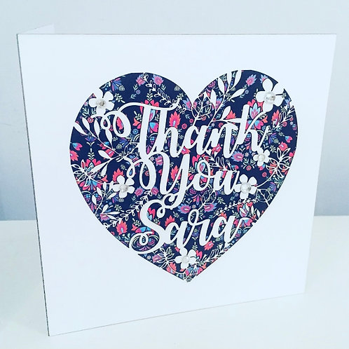 Laser Cut Heart Floral Thank You Card With Personalised Name and Diamanté
